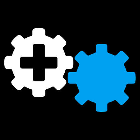 gear box: Medical Process vector icon. Style is bicolor flat symbol, blue and white colors, rounded angles, black background.
