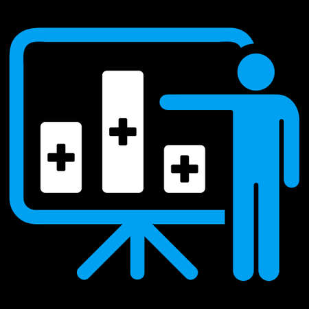 health care analytics: Medical Public Report vector icon. Style is bicolor flat symbol, blue and white colors, rounded angles, black background.