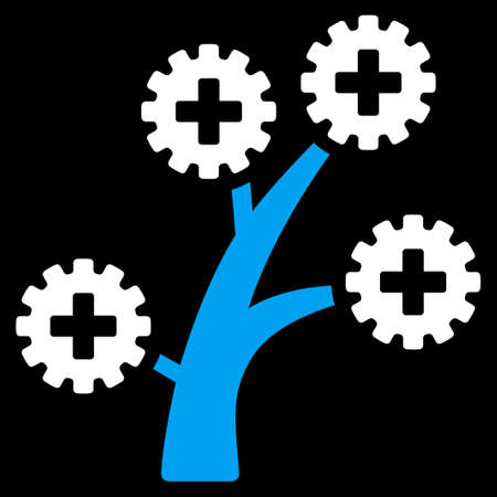 medical technology: Medical Technology Tree vector icon. Style is bicolor flat symbol, blue and white colors, rounded angles, black background. Illustration