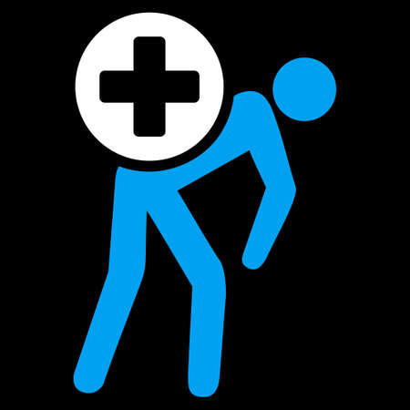 tree services company: Medication Courier vector icon. Style is bicolor flat symbol, blue and white colors, rounded angles, black background. Illustration