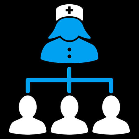 patients: Nurse Patients Connections vector icon. Style is bicolor flat symbol, blue and white colors, rounded angles, black background.