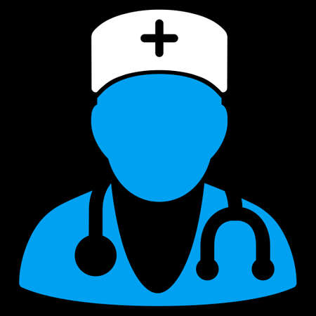 physician: Physician vector icon. Style is bicolor flat symbol, blue and white colors, rounded angles, black background.