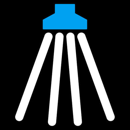cleanser: Shower vector icon. Style is bicolor flat symbol, blue and white colors, rounded angles, black background.