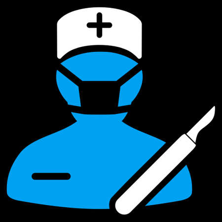 chirurgo: Surgeon vector icon. Style is bicolor flat symbol, blue and white colors, rounded angles, black background.
