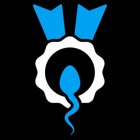 favorite number: Sperm Winner vector icon. Style is bicolor flat symbol, blue and white colors, rounded angles, black background. Illustration