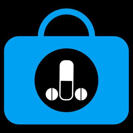 salud sexual: Hombre de icono de vector Toolbox sexual. El estilo es el s�mbolo plana bicolor, colores azul y blanco, �ngulos redondeados, fondo negro. Vectores