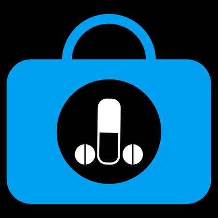 testicles: Male Sexual Toolbox vector icon. Style is bicolor flat symbol, blue and white colors, rounded angles, black background.