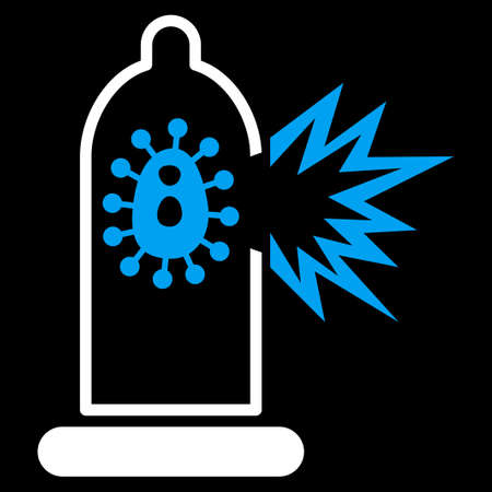 ameba: Damaged Condom With Virus vector icon. Style is bicolor flat symbol, blue and white colors, rounded angles, black background.
