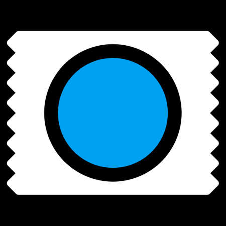 condom: Condom Pack vector icon. Style is bicolor flat symbol, blue and white colors, rounded angles, black background.