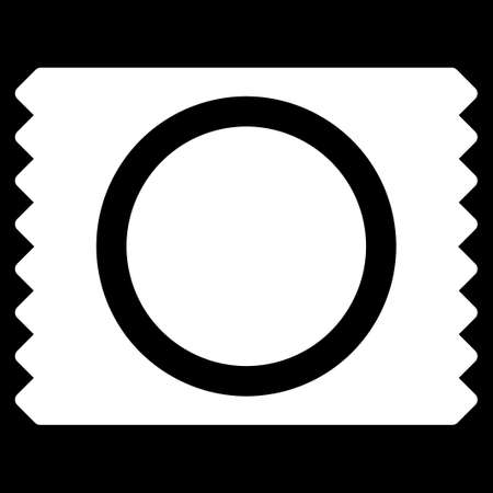 preservative: Condom Pack glyph icon. Style is flat symbol, white color, rounded angles, black background.