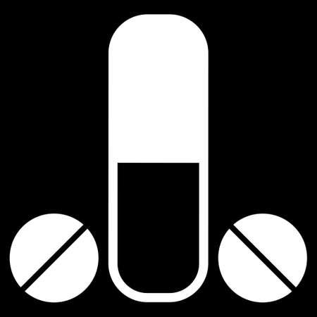 erection: Male Medication glyph icon. Style is flat symbol, white color, rounded angles, black background. Stock Photo