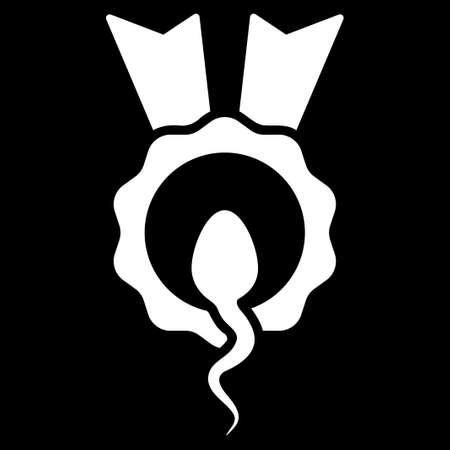 spermatozoon: Sperm Winner glyph icon. Style is flat symbol, white color, rounded angles, black background.