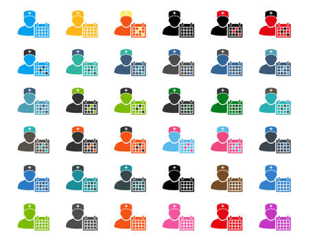 orderly: Doctor Appointment flat vector icons. Style is different colors, rounded angles, white background.