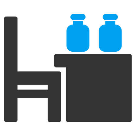 boticário: Apothecary Table vector icon. Style is bicolor flat symbol, blue and gray colors, rounded angles, white background. Ilustra��o
