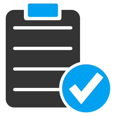 registration mark: Apply Form vector icon. Style is bicolor flat symbol, blue and gray colors, rounded angles, white background.