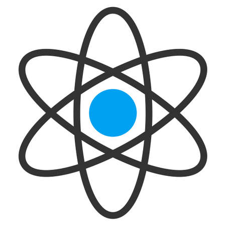 fission: Atom vector icon. Style is bicolor flat symbol, blue and gray colors, rounded angles, white background.