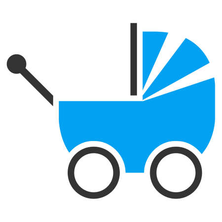 waggon: Baby Carriage vector icon. Style is bicolor flat symbol, blue and gray colors, rounded angles, white background.