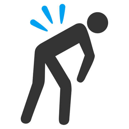 warning back: Backache vector icon. Style is bicolor flat symbol, blue and gray colors, rounded angles, white background.
