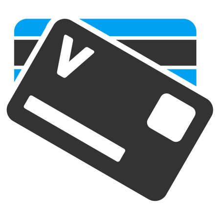 allowed to pass: Banking Cards vector icon. Style is bicolor flat symbol, blue and gray colors, rounded angles, white background.