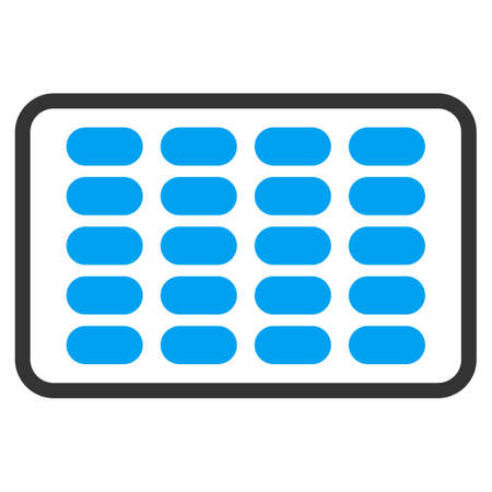 doses: Blister vector icon. Style is bicolor flat symbol, blue and gray colors, rounded angles, white background. Illustration