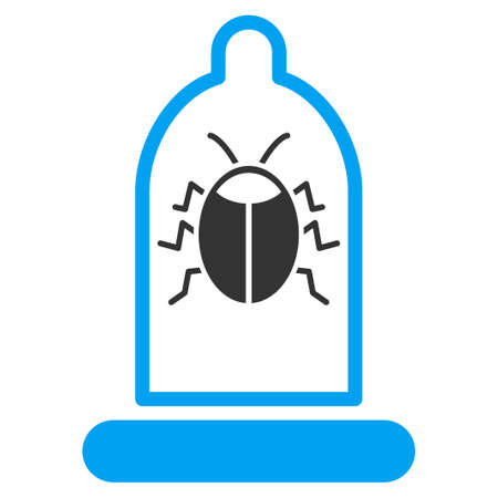 preservative: Bug Protection vector icon. Style is bicolor flat symbol, blue and gray colors, rounded angles, white background.