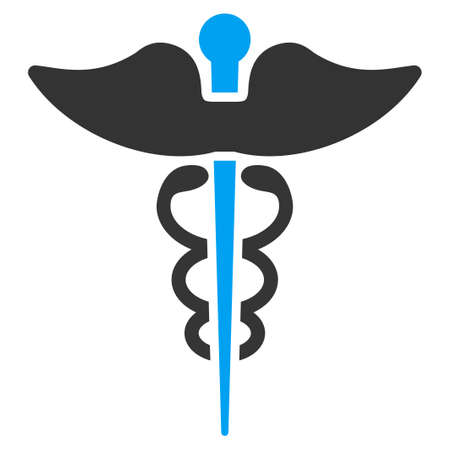 asclepius: Caduceus vector icon. Style is bicolor flat symbol, blue and gray colors, rounded angles, white background. Illustration