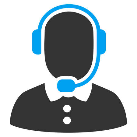 callcenter: Call Center Operator vector icon. Style is bicolor flat symbol, blue and gray colors, rounded angles, white background.