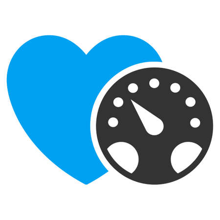 heart monitor: Blood Pressure Meter vector icon. Style is bicolor flat symbol, blue and gray colors, rounded angles, white background. Illustration