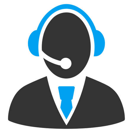 agents: Call Center Worker vector icon. Style is bicolor flat symbol, blue and gray colors, rounded angles, white background. Illustration