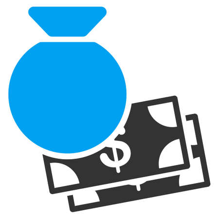 moneybag: Capital vector icon. Style is bicolor flat symbol, blue and gray colors, rounded angles, white background.