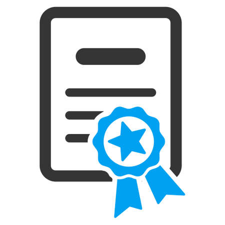 attest: Certified Diploma vector icon. Style is bicolor flat symbol, blue and gray colors, rounded angles, white background.