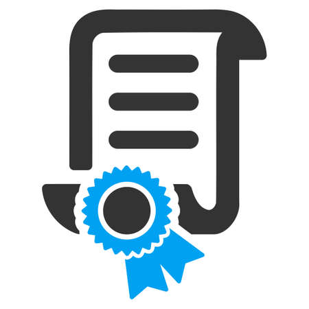 attest: Certified Scroll Document vector icon. Style is bicolor flat symbol, blue and gray colors, rounded angles, white background.