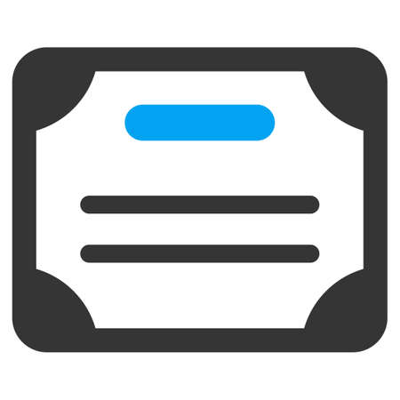attest: Certificate vector icon. Style is bicolor flat symbol, blue and gray colors, rounded angles, white background.