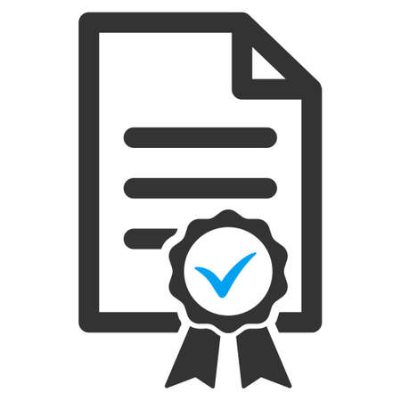 attest: Certified vector icon. Style is bicolor flat symbol, blue and gray colors, rounded angles, white background.