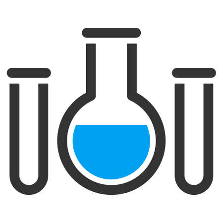 retort: Chemical Vessels vector icon. Style is bicolor flat symbol, blue and gray colors, rounded angles, white background.