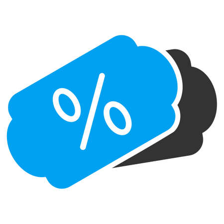 discount coupon: Discount Coupons vector icon. Style is bicolor flat symbol, blue and gray colors, rounded angles, white background. Illustration