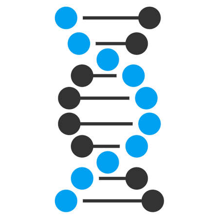 decode: Dna vector icon. Style is bicolor flat symbol, blue and gray colors, rounded angles, white background.