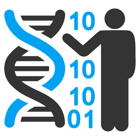 decode: Dna Code Report vector icon. Style is bicolor flat symbol, blue and gray colors, rounded angles, white background.