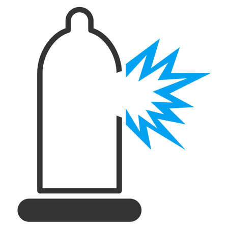 infection prevention: Condom Damage vector icon. Style is bicolor flat symbol, blue and gray colors, rounded angles, white background. Illustration