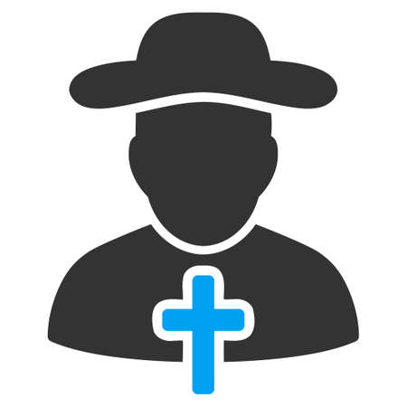 sotana: Vector icon Clérigo. El estilo es el símbolo plana bicolor, colores azul y gris, ángulos redondeados, fondo blanco.
