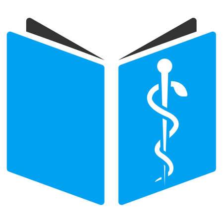 handbook: Drug Handbook vector icon. Style is bicolor flat symbol, blue and gray colors, rounded angles, white background.