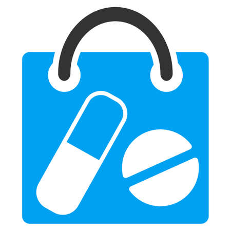 Drugs: Drugs Shopping Bag vector icon. Style is bicolor flat symbol, blue and gray colors, rounded angles, white background.