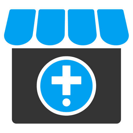 polyclinic: Drugstore vector icon. Style is bicolor flat symbol, blue and gray colors, rounded angles, white background.