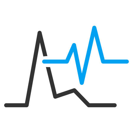 cardiograph: Ecg vector icon. Style is bicolor flat symbol, blue and gray colors, rounded angles, white background. Illustration