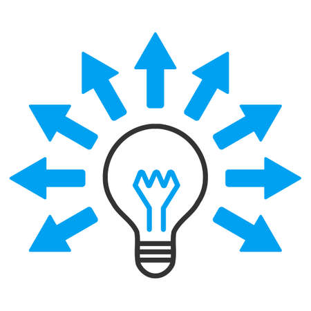 electric light: Electric Light vector icon. Style is bicolor flat symbol, blue and gray colors, rounded angles, white background.