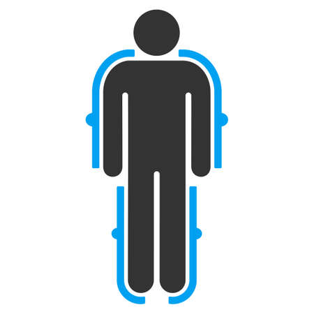 exoskeleton: Exoskeleton vector icon. Style is bicolor flat symbol, blue and gray colors, rounded angles, white background. Illustration
