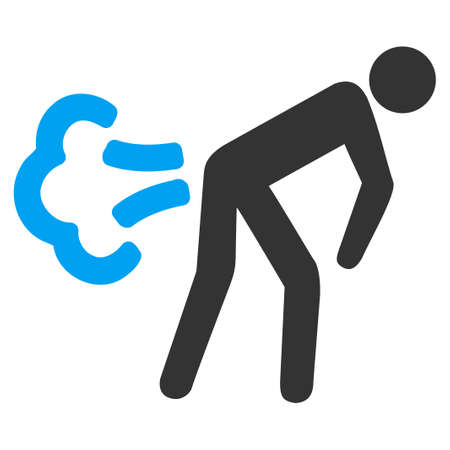 fart: Fart vector icon. Style is bicolor flat symbol, blue and gray colors, rounded angles, white background.