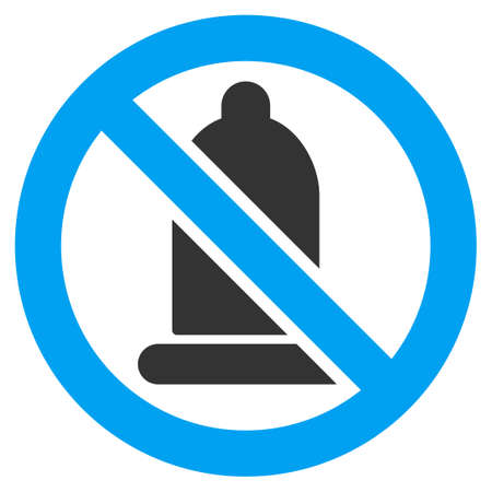 condoms: Forbidden Condom vector icon. Style is bicolor flat symbol, blue and gray colors, rounded angles, white background.