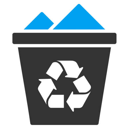 utilization: Full Recycle Bin vector icon. Style is bicolor flat symbol, blue and gray colors, rounded angles, white background.