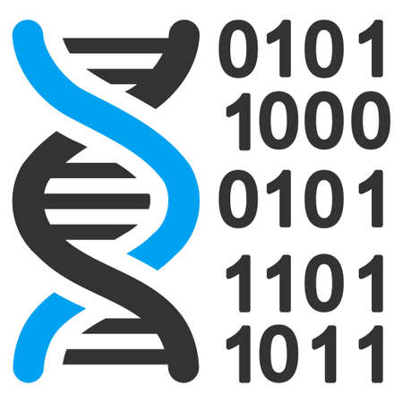 genome: Genome Code vector icon. Style is bicolor flat symbol, blue and gray colors, rounded angles, white background. Illustration